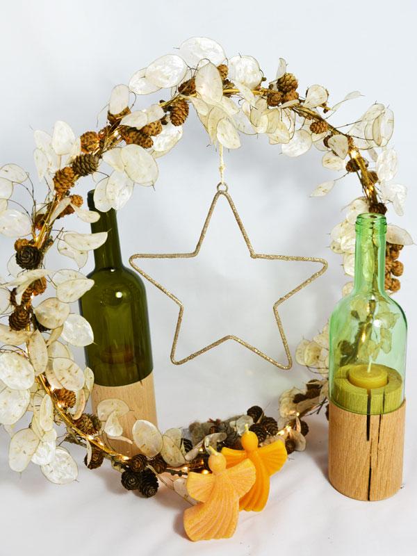Dekokranz mit Stern, Bienenwachskerzen, Teelichthalter