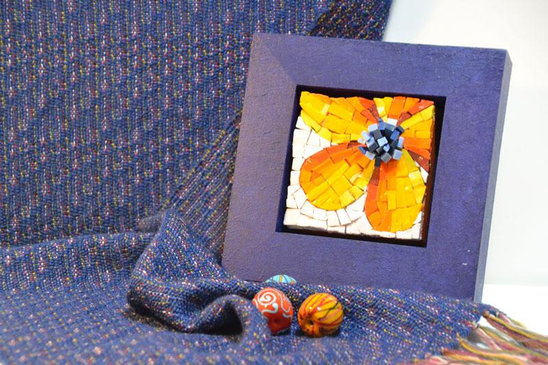 Webschal, Glasperlen, Mosaik