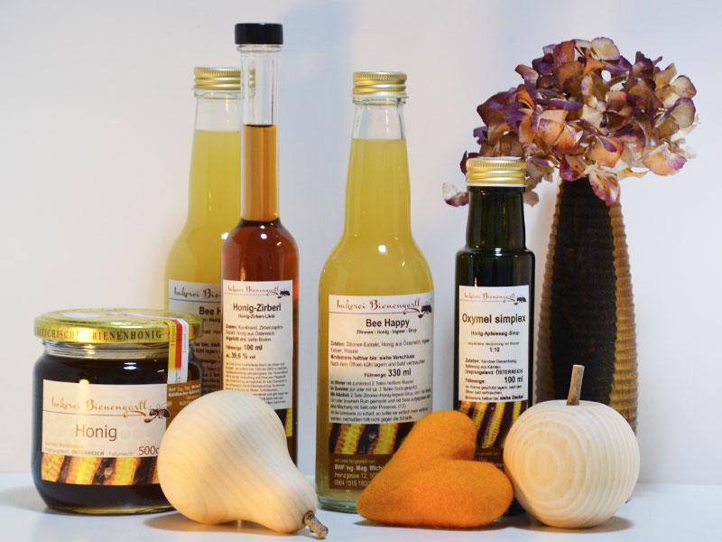 Filzherz, Holzobst, Honigprodukte