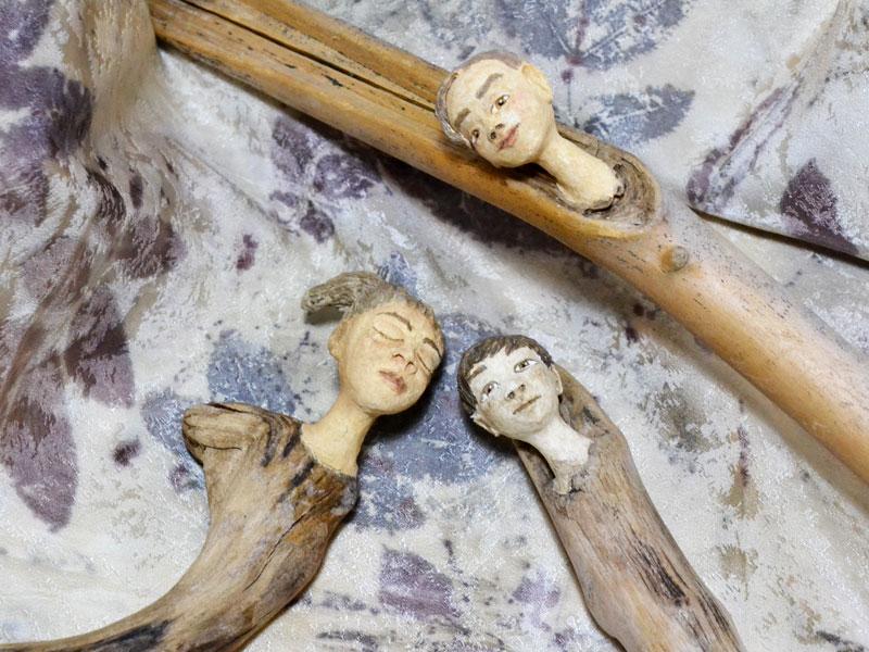 Holzfiguren, Ecoprint-Seidenschal