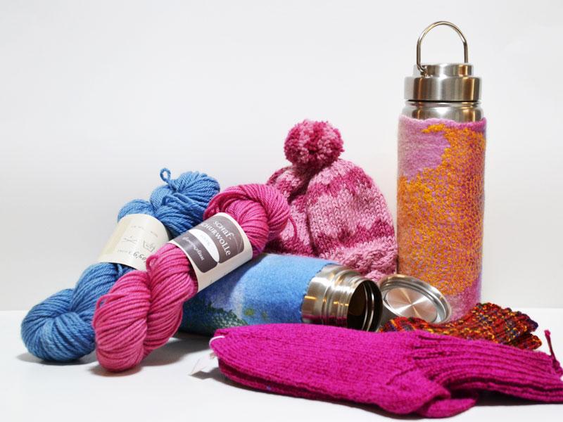 Wolle, Filzhüllen für Thermosflaschen, Socken, Mütze