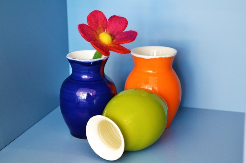 Keramikvasen, Filzblume