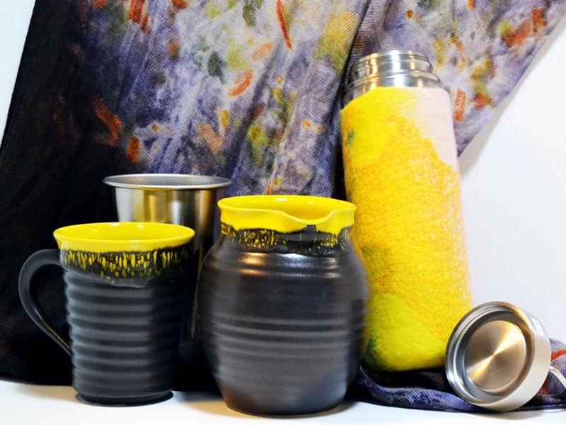 Keramik, Filzhülle für Thermosflasche, Ecoprint-Seidenschal