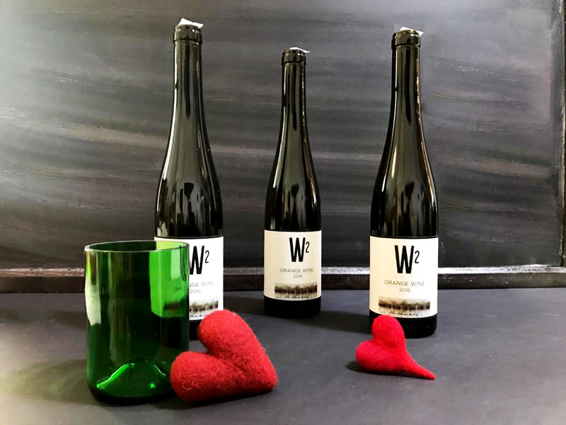 Wein, Filzherzen, Trinkglas